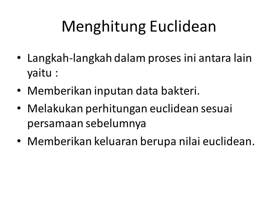 Menghitung Euclidean Langkah-langkah dalam proses ini antara lain yaitu : Memberikan inputan data bakteri.