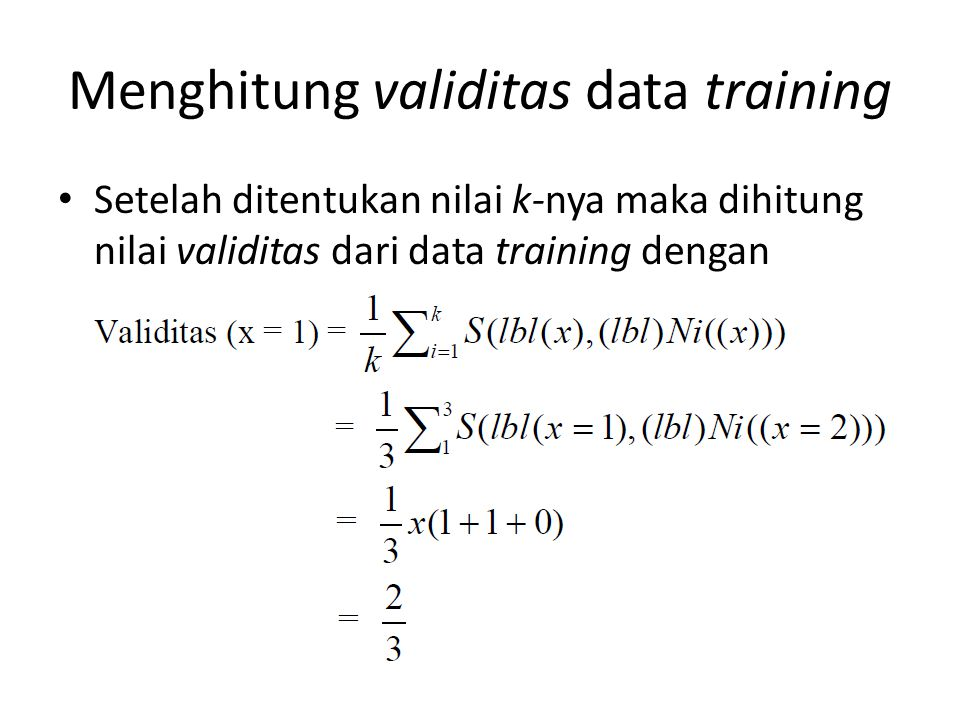 Menghitung validitas data training