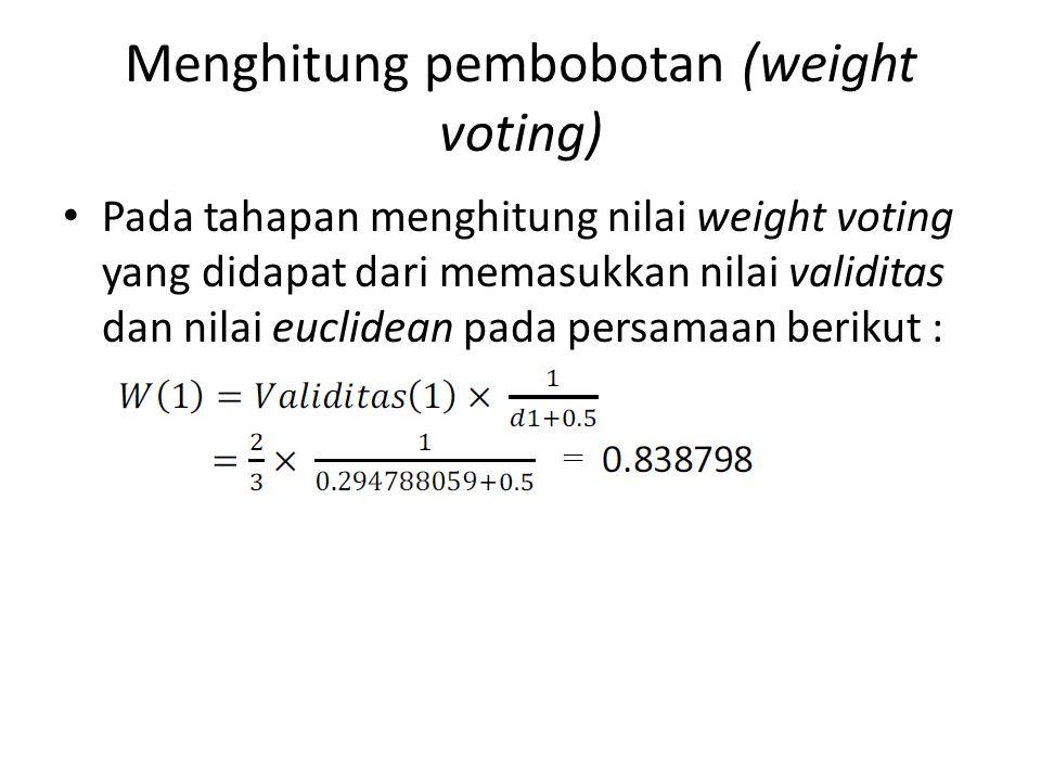 Menghitung pembobotan (weight voting)