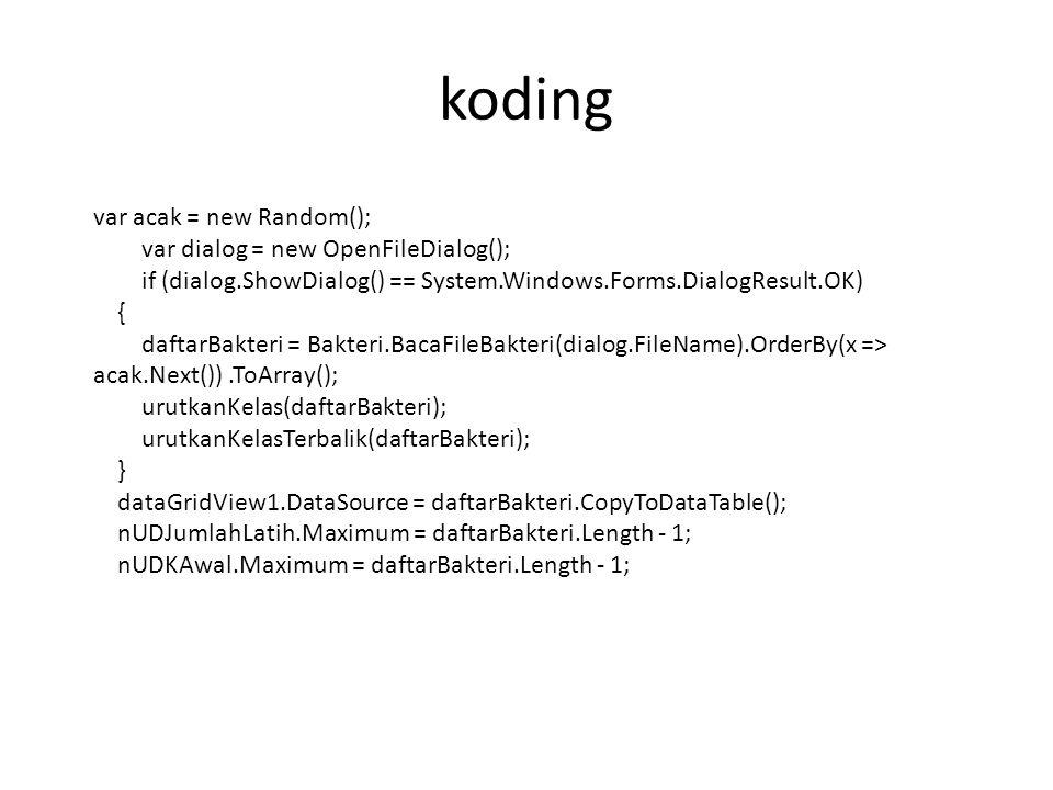 koding var acak = new Random(); var dialog = new OpenFileDialog();