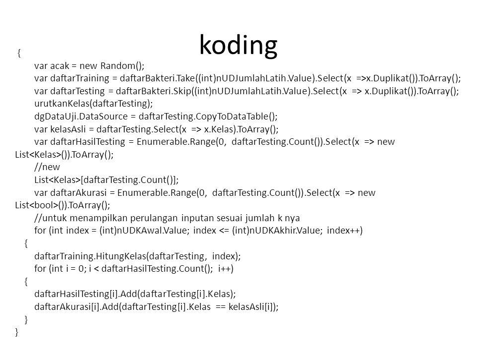 koding { var acak = new Random();