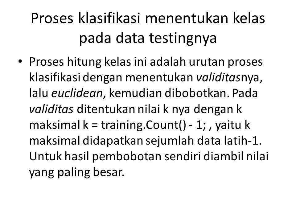 Proses klasifikasi menentukan kelas pada data testingnya
