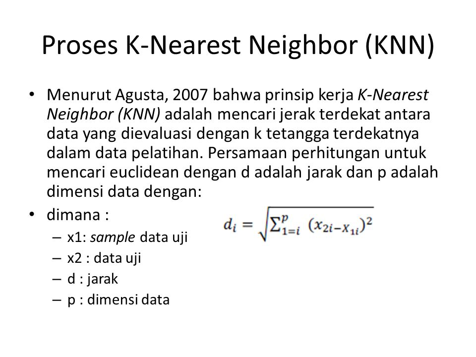 Proses K-Nearest Neighbor (KNN)