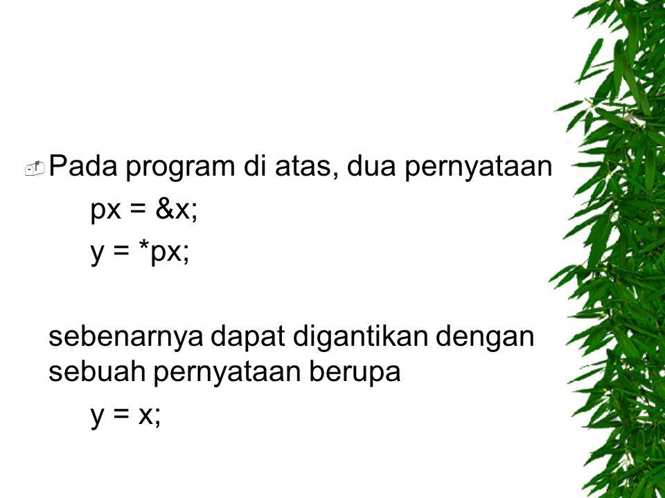 Pada program di atas, dua pernyataan