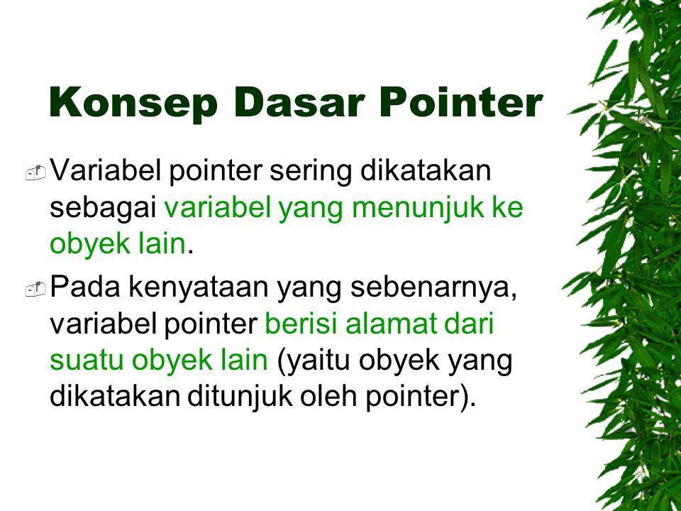 Konsep Dasar Pointer Variabel pointer sering dikatakan sebagai variabel yang menunjuk ke obyek lain.