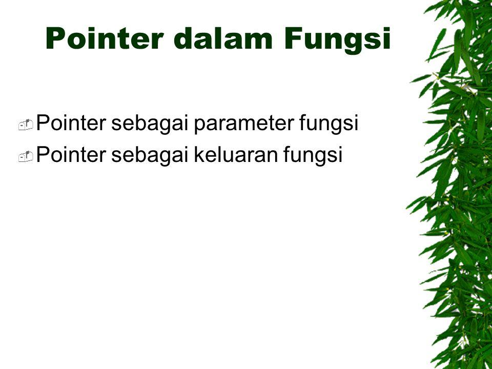 Pointer dalam Fungsi Pointer sebagai parameter fungsi