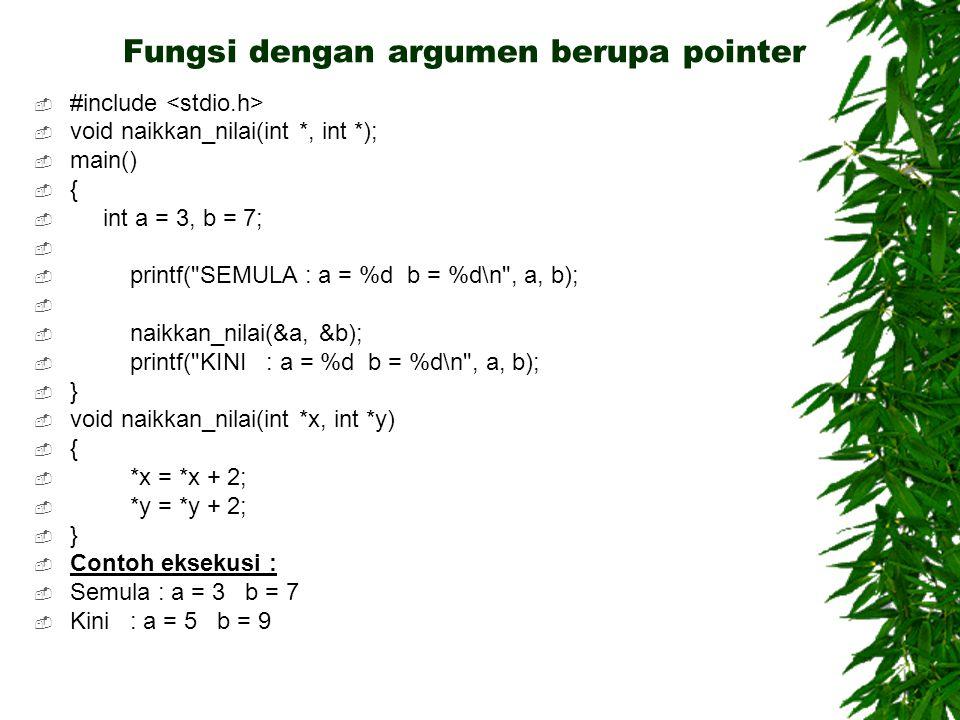 Fungsi dengan argumen berupa pointer
