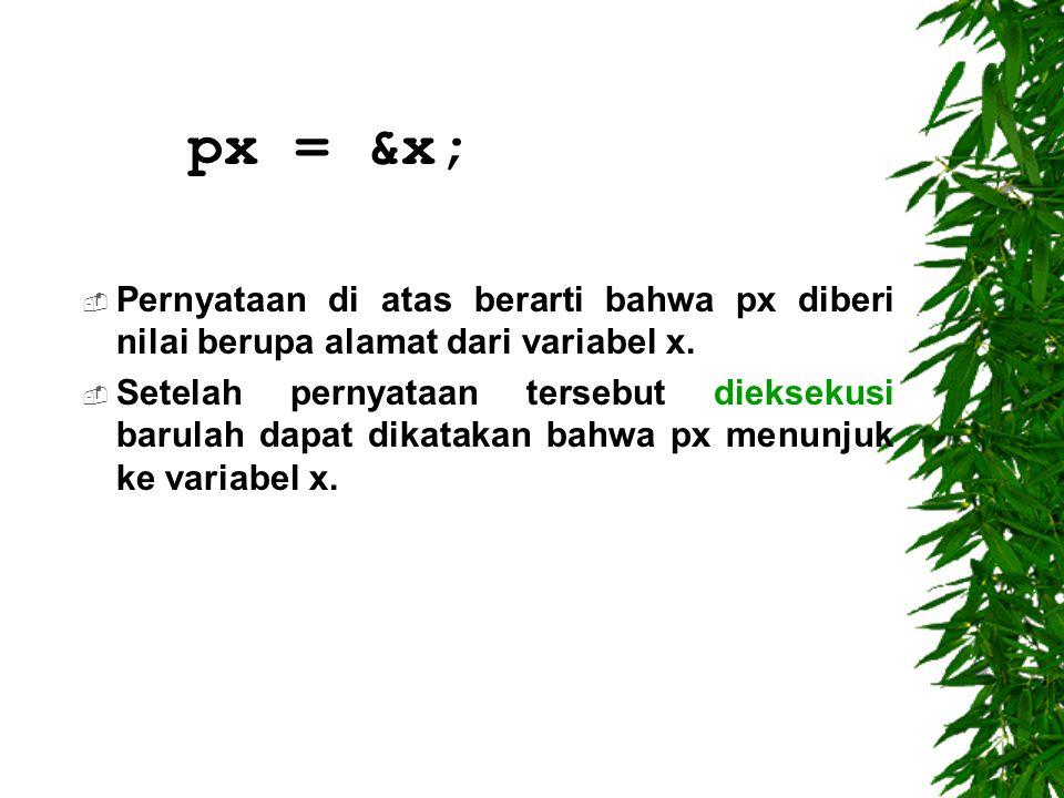 px = &x; Pernyataan di atas berarti bahwa px diberi nilai berupa alamat dari variabel x.