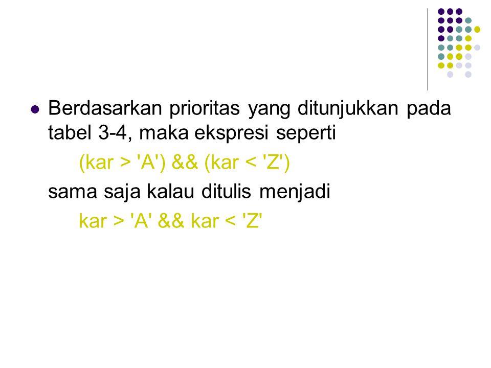 Berdasarkan prioritas yang ditunjukkan pada tabel 3-4, maka ekspresi seperti