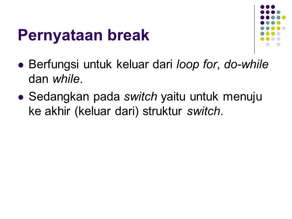 Pernyataan break Berfungsi untuk keluar dari loop for, do-while dan while.