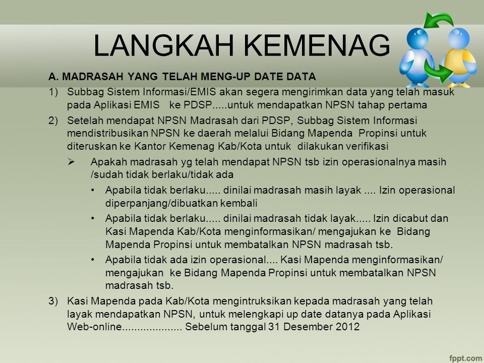 LANGKAH KEMENAG A. MADRASAH YANG TELAH MENG-UP DATE DATA