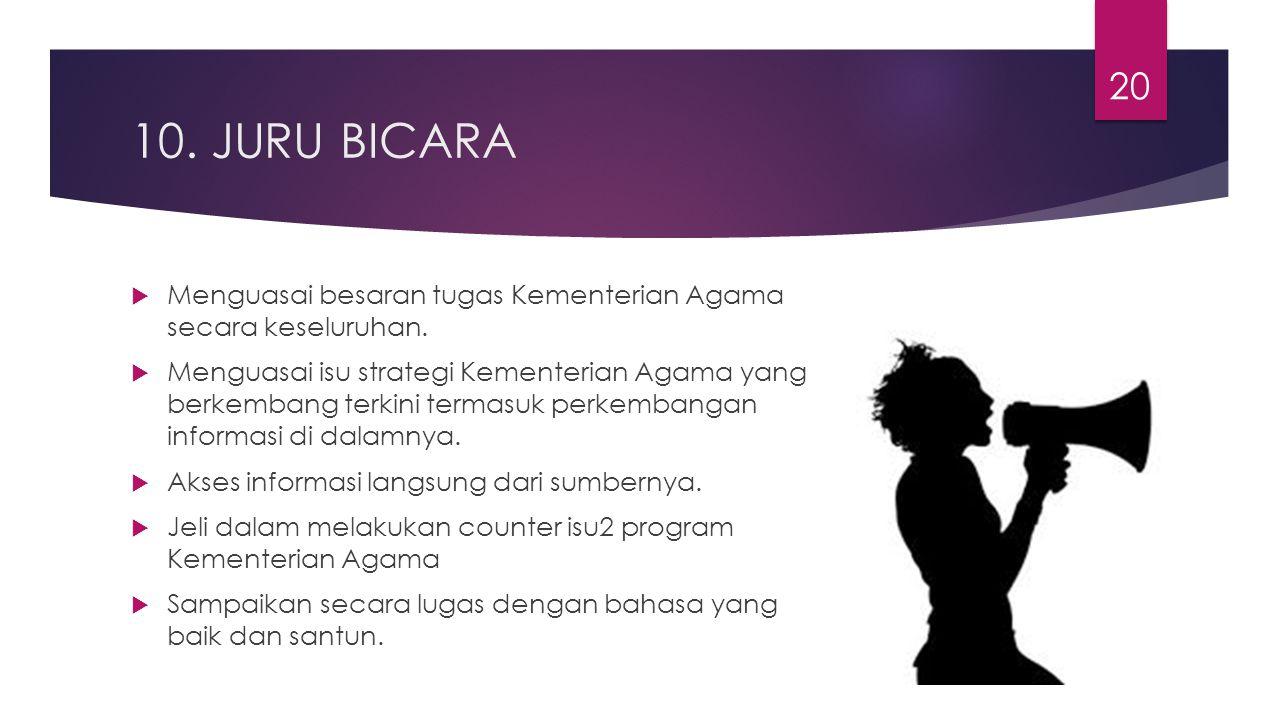 10. JURU BICARA Menguasai besaran tugas Kementerian Agama secara keseluruhan.