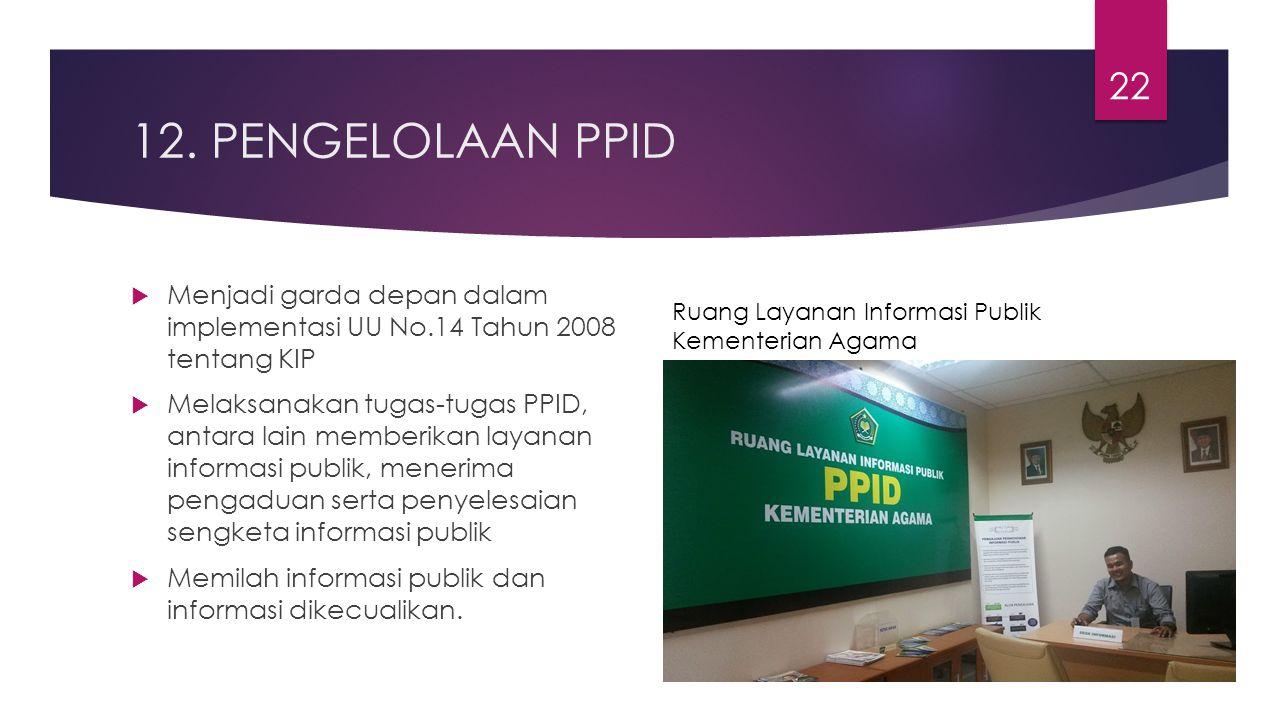 12. PENGELOLAAN PPID Menjadi garda depan dalam implementasi UU No.14 Tahun 2008 tentang KIP.