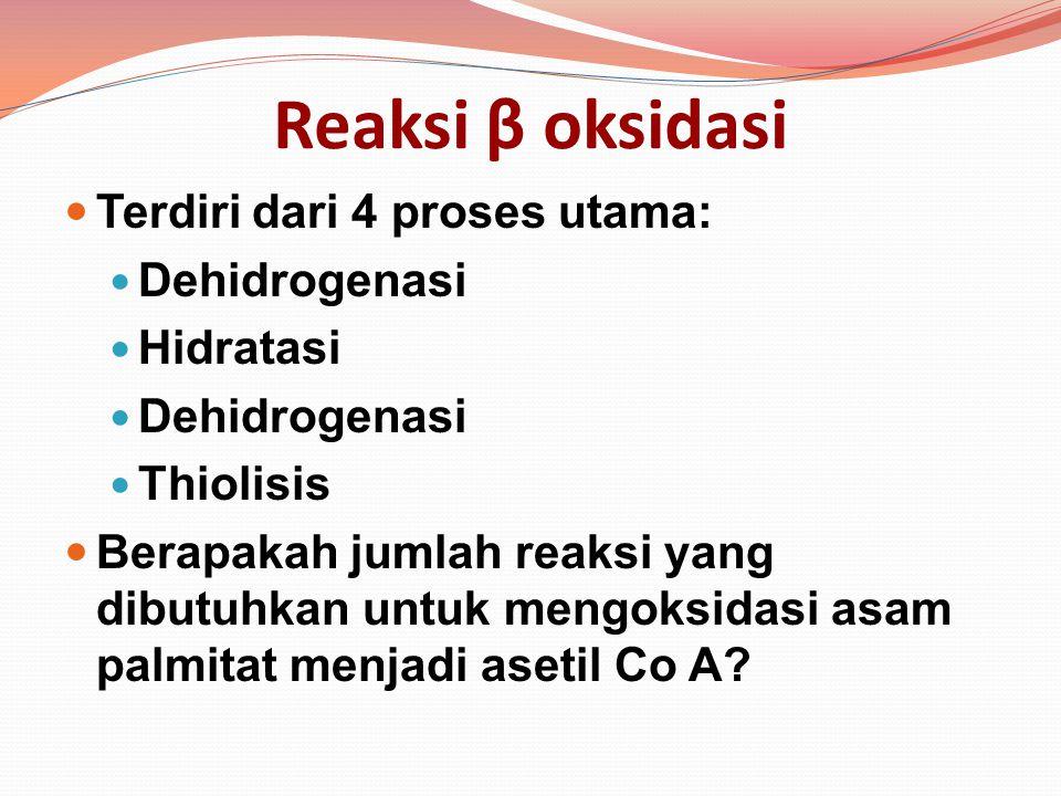 Reaksi β oksidasi Terdiri dari 4 proses utama: Dehidrogenasi Hidratasi