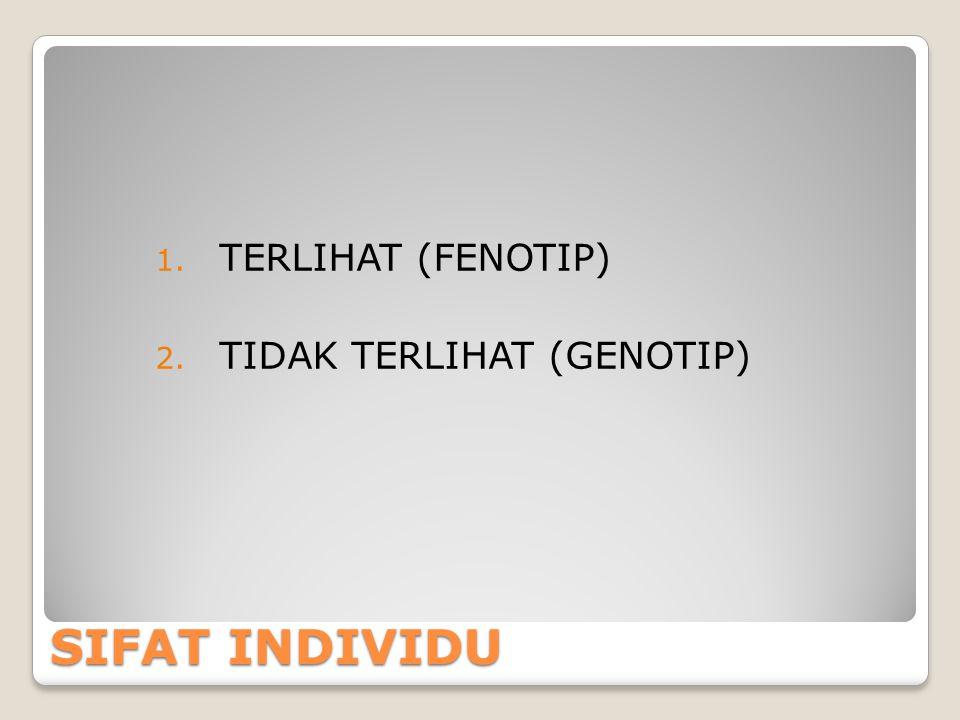 TERLIHAT (FENOTIP) TIDAK TERLIHAT (GENOTIP) SIFAT INDIVIDU