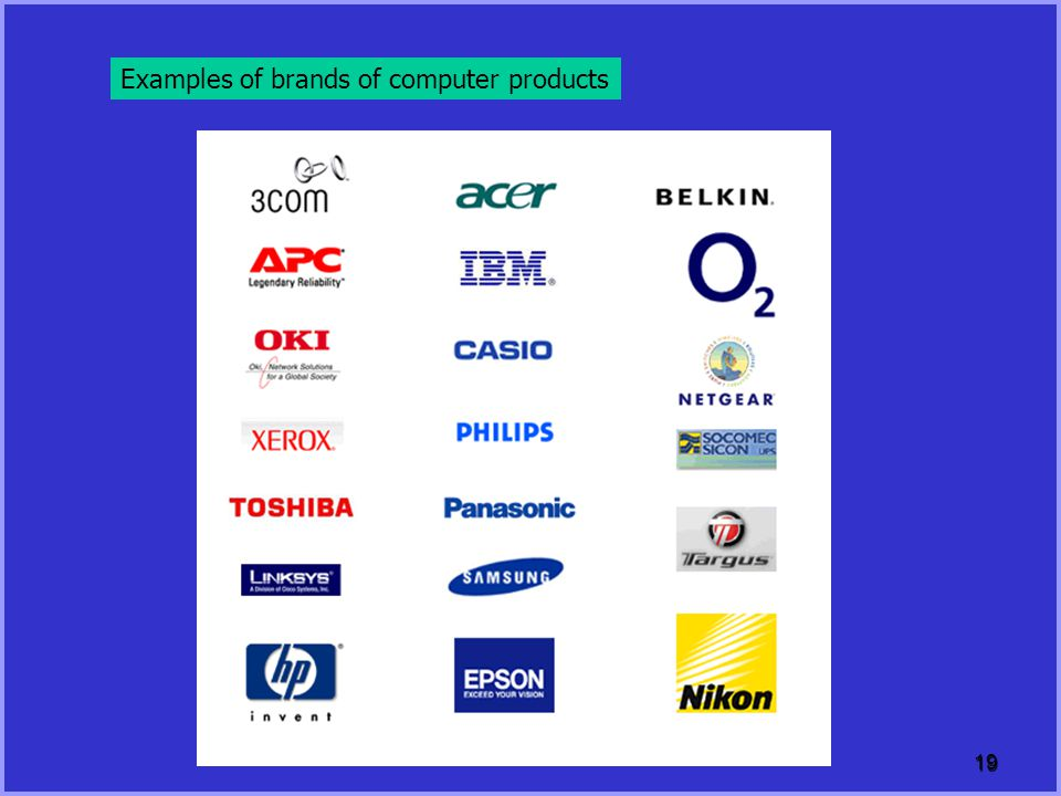 Examples of brands of computer products