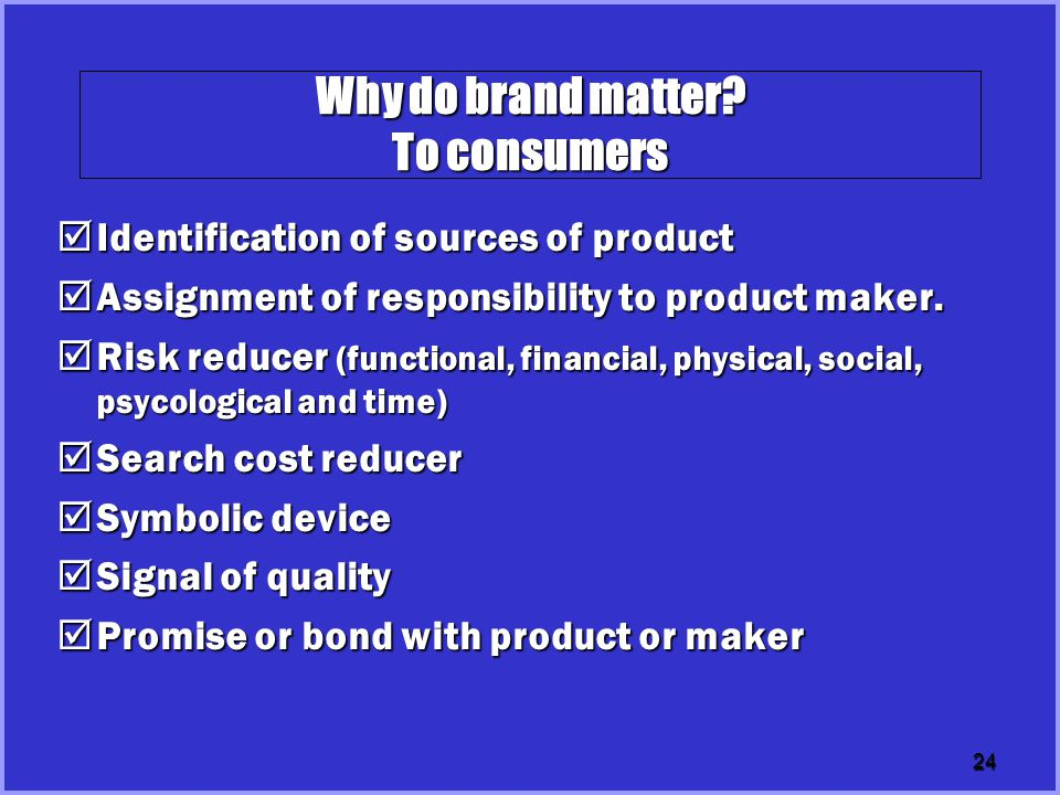 Why do brand matter To consumers