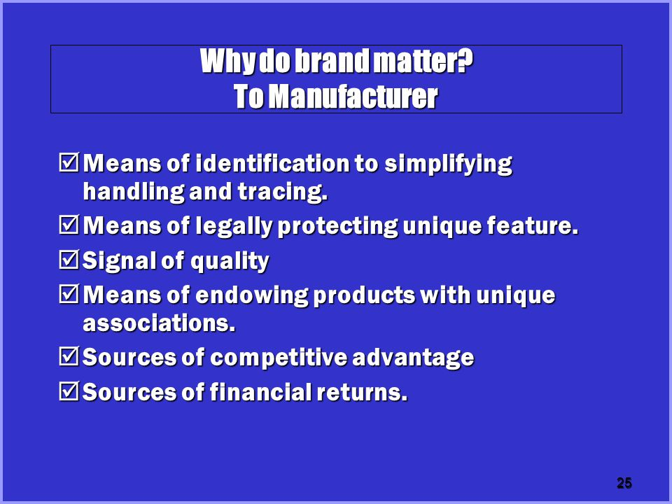 Why do brand matter To Manufacturer