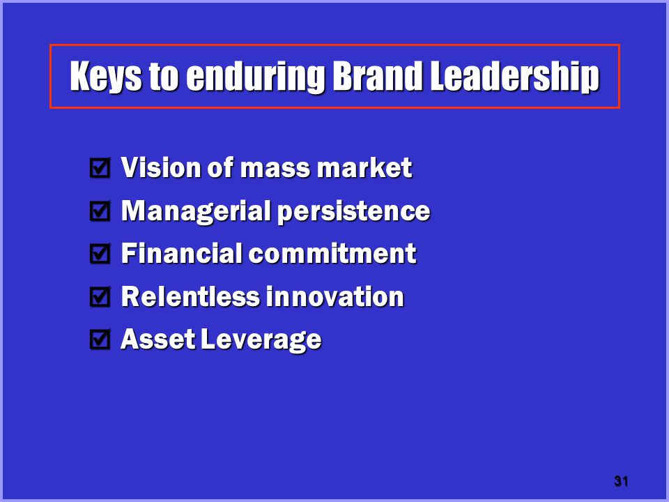 Keys to enduring Brand Leadership