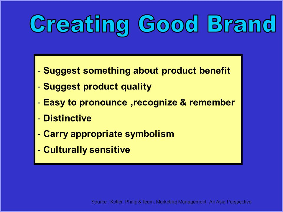 Creating Good Brand Suggest something about product benefit
