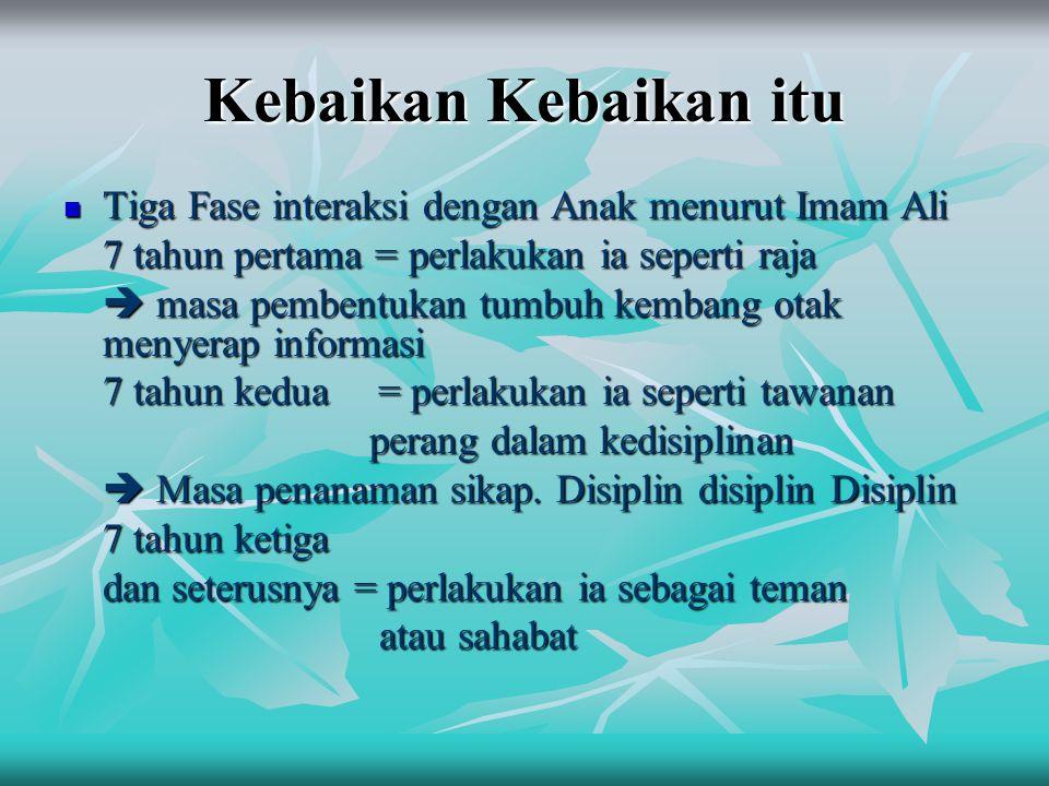 Kebaikan Kebaikan itu Tiga Fase interaksi dengan Anak menurut Imam Ali