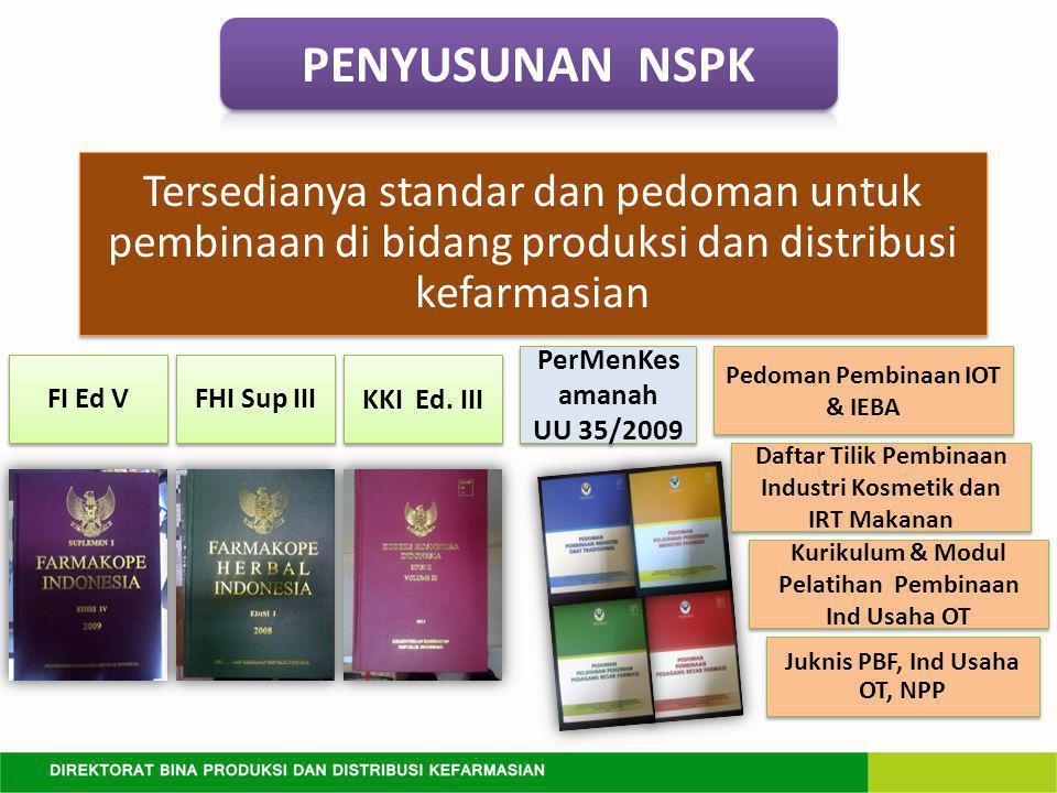 PENYUSUNAN NSPK Tersedianya standar dan pedoman untuk pembinaan di bidang produksi dan distribusi kefarmasian.