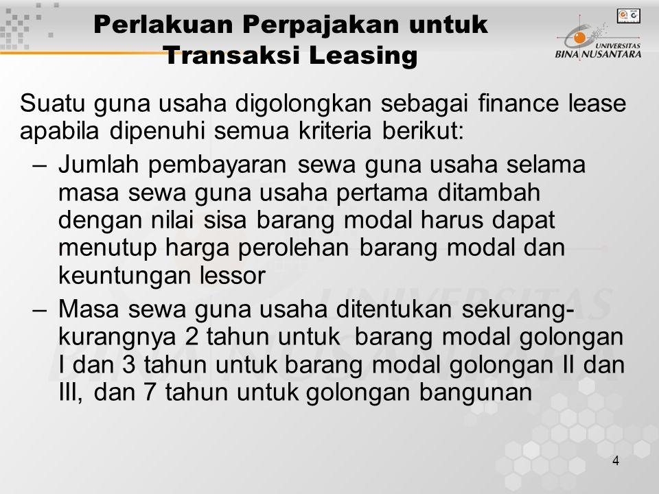 Perlakuan Perpajakan untuk Transaksi Leasing