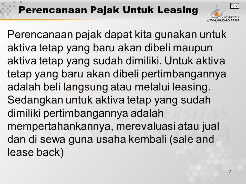 Perencanaan Pajak Untuk Leasing