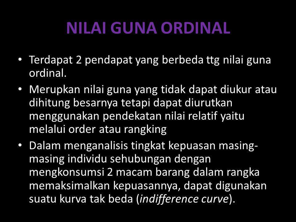 NILAI GUNA ORDINAL Terdapat 2 pendapat yang berbeda ttg nilai guna ordinal.