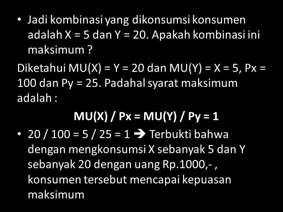 Jadi kombinasi yang dikonsumsi konsumen adalah X = 5 dan Y = 20
