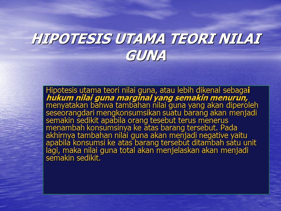 HIPOTESIS UTAMA TEORI NILAI GUNA