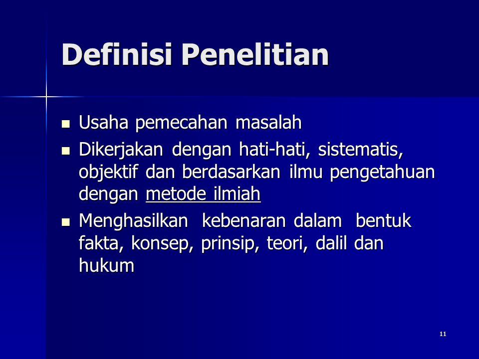 Definisi Penelitian Usaha pemecahan masalah