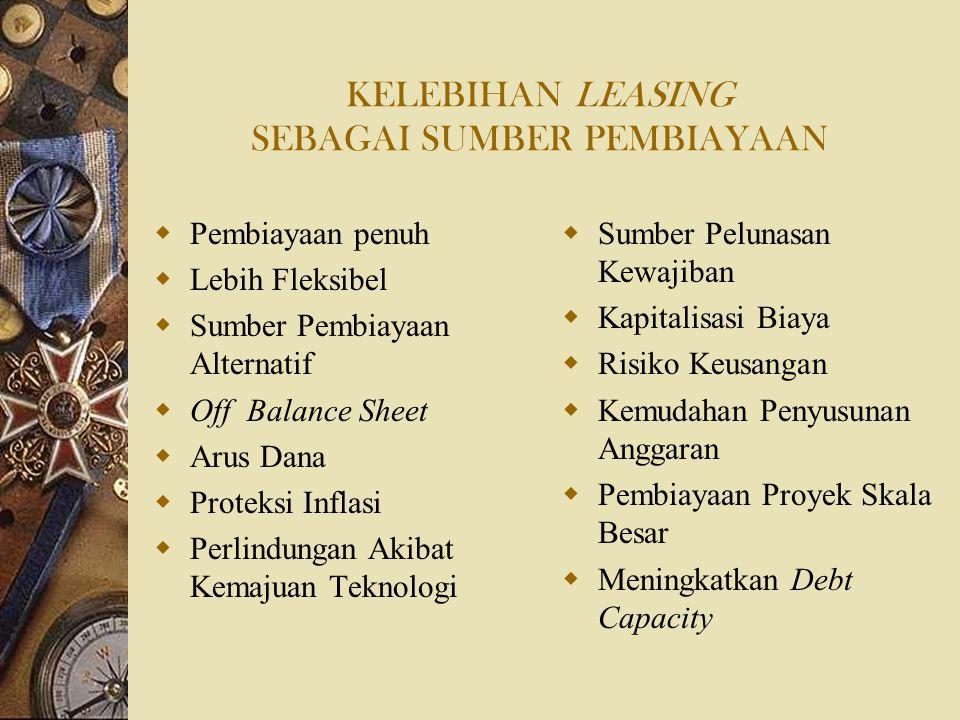 KELEBIHAN LEASING SEBAGAI SUMBER PEMBIAYAAN