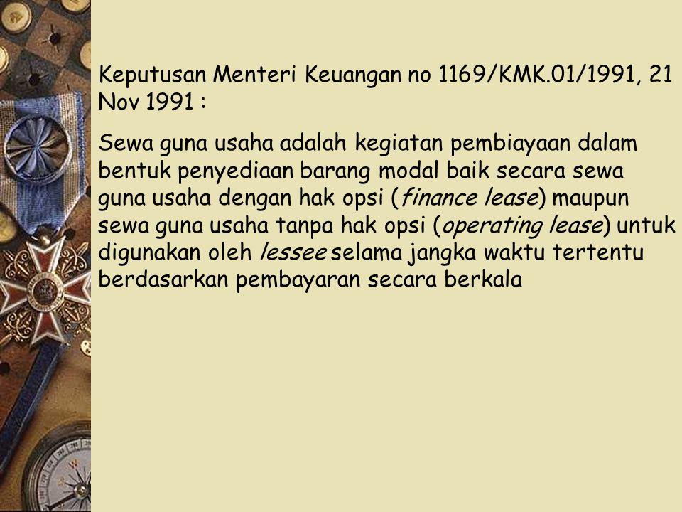 Keputusan Menteri Keuangan no 1169/KMK.01/1991, 21 Nov 1991 :