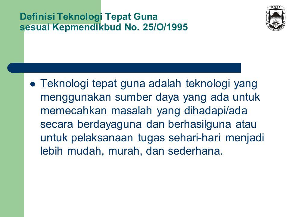 Definisi Teknologi Tepat Guna sesuai Kepmendikbud No. 25/O/1995