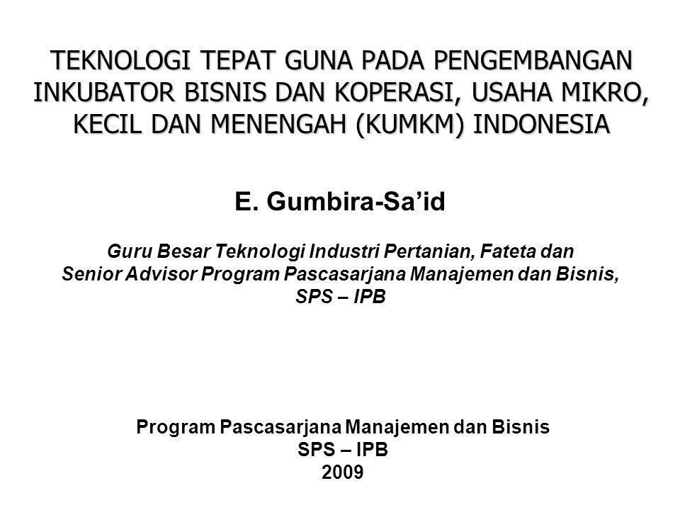 TEKNOLOGI TEPAT GUNA PADA PENGEMBANGAN INKUBATOR BISNIS DAN KOPERASI, USAHA MIKRO, KECIL DAN MENENGAH (KUMKM) INDONESIA