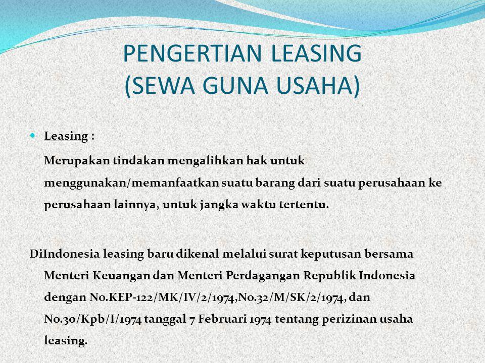 PENGERTIAN LEASING (SEWA GUNA USAHA)