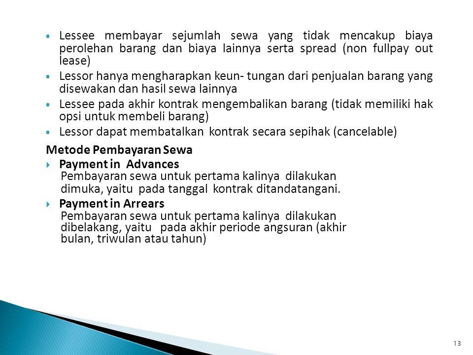 Lessee membayar sejumlah sewa yang tidak mencakup biaya perolehan barang dan biaya lainnya serta spread (non fullpay out lease)