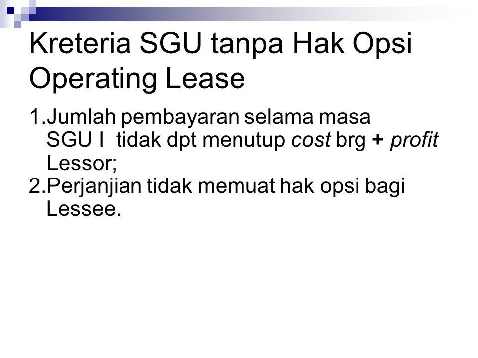 Kreteria SGU tanpa Hak Opsi Operating Lease