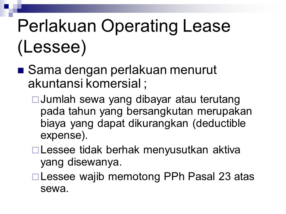 Perlakuan Operating Lease (Lessee)