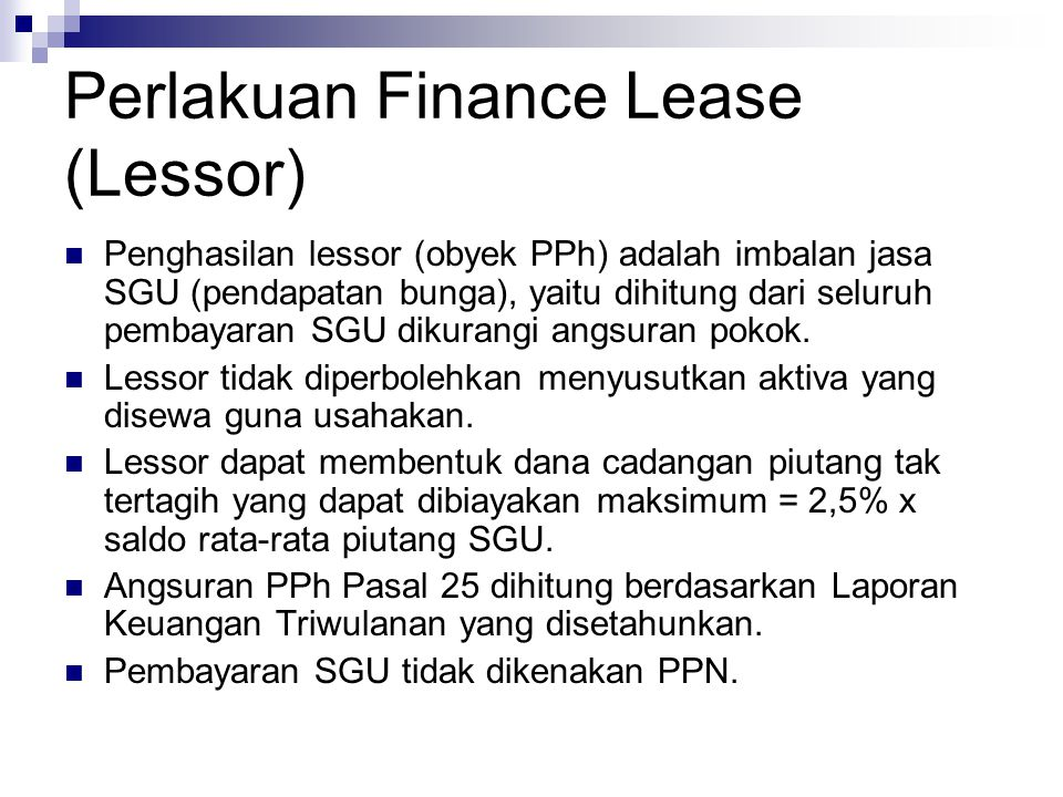 Perlakuan Finance Lease (Lessor)