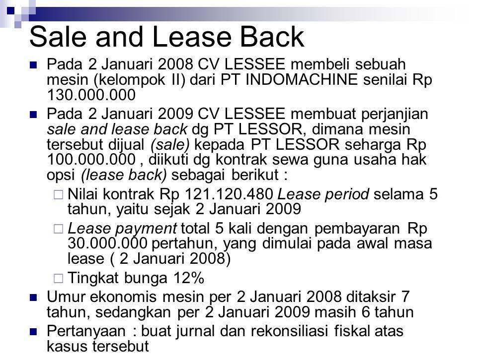 Sale and Lease Back Pada 2 Januari 2008 CV LESSEE membeli sebuah mesin (kelompok II) dari PT INDOMACHINE senilai Rp 130.000.000.