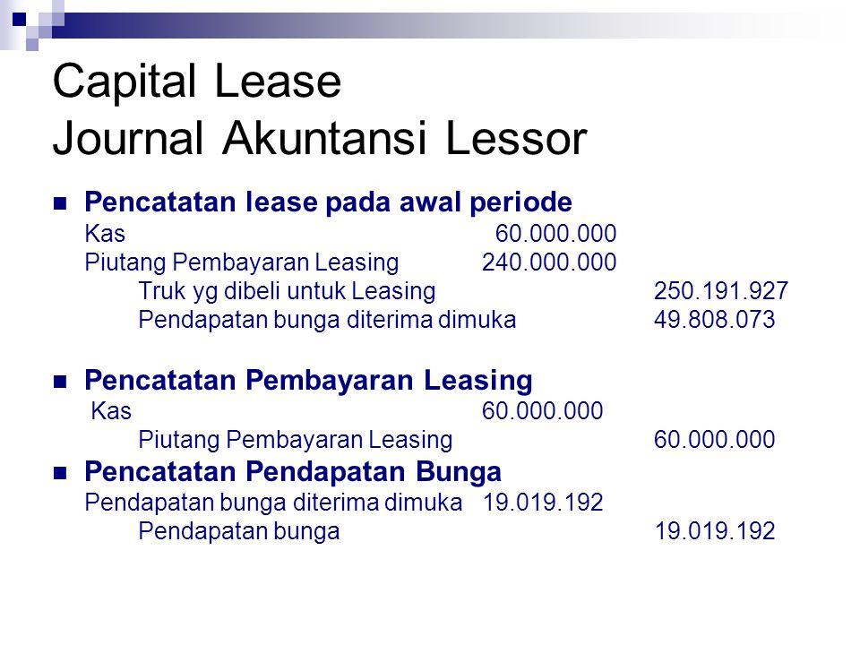 Capital Lease Journal Akuntansi Lessor