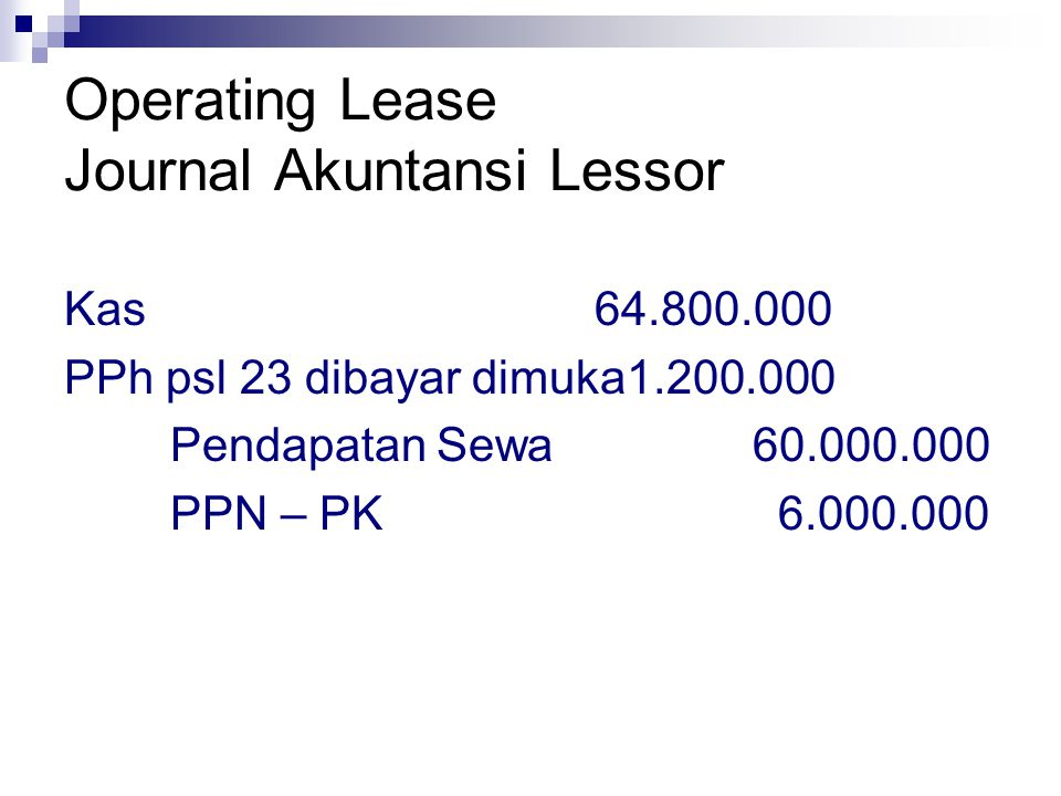 Operating Lease Journal Akuntansi Lessor