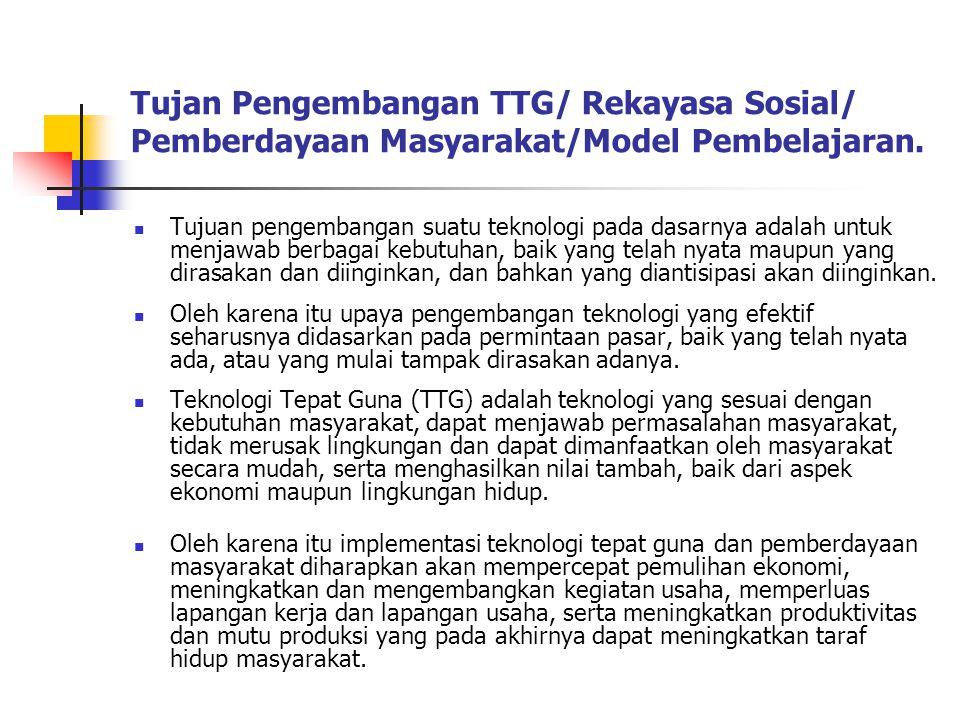 Tujan Pengembangan TTG/ Rekayasa Sosial/ Pemberdayaan Masyarakat/Model Pembelajaran.