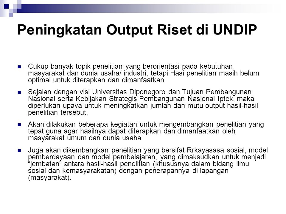 Peningkatan Output Riset di UNDIP