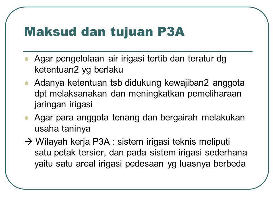 Maksud dan tujuan P3A Agar pengelolaan air irigasi tertib dan teratur dg ketentuan2 yg berlaku.