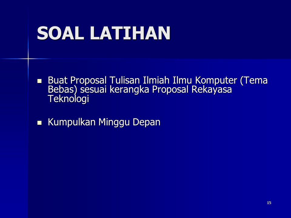 SOAL LATIHAN Buat Proposal Tulisan Ilmiah Ilmu Komputer (Tema Bebas) sesuai kerangka Proposal Rekayasa Teknologi.