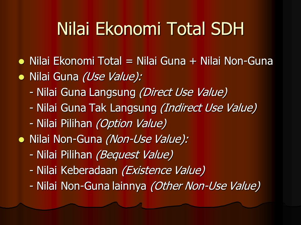 Nilai Ekonomi Total SDH
