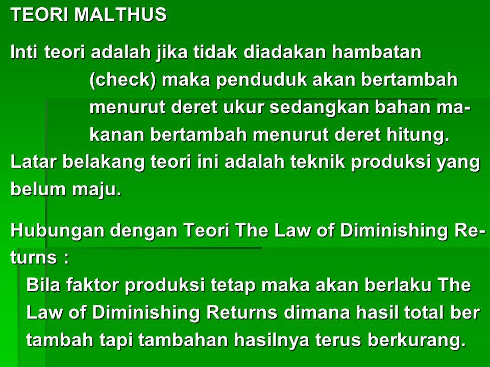 TEORI MALTHUS Inti teori adalah jika tidak diadakan hambatan. (check) maka penduduk akan bertambah.